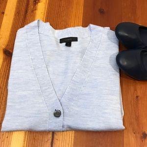 J. Crew Blue V-neck Cardigan Sweater Merino Wool